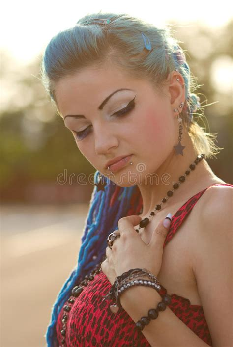 Pretty Punk Girl With Blue Hair Royalty Free Stock Photo