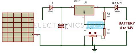 Solar Battery Charger Circuit Using Voltage Regulator