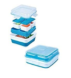 amazoncom cool gear ez freeze collapsible bento box assorted colors kitchen dining
