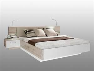 Doppelbett 180x200 Weiß : doppelbett rubio 2 sandeiche wei hochglanz 180x200 bett mit 2x nako wohnbereiche schlafzimmer ~ Frokenaadalensverden.com Haus und Dekorationen