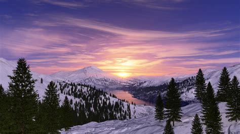 wallpaper sunrise morning snow mountains lake nature