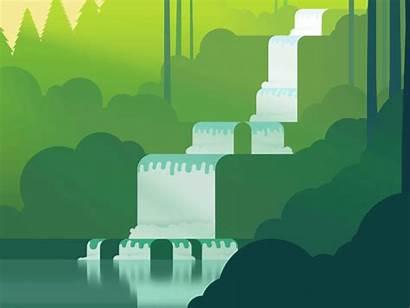 Waterfall Dribbble Pixel Flat Illustration Nature V2
