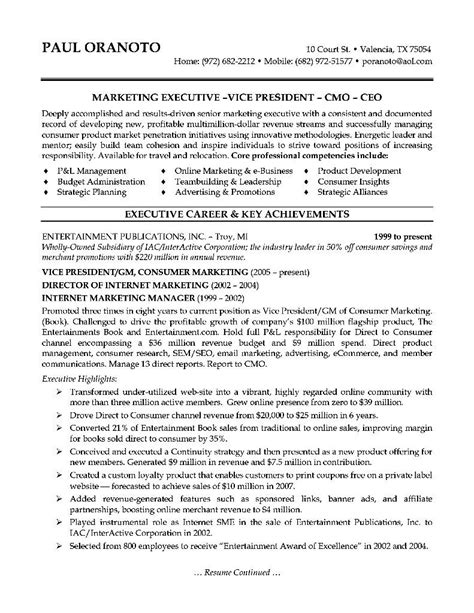 Sle Resume Ceo Position by Marketing Executive Resume Sle 28 Images Senior