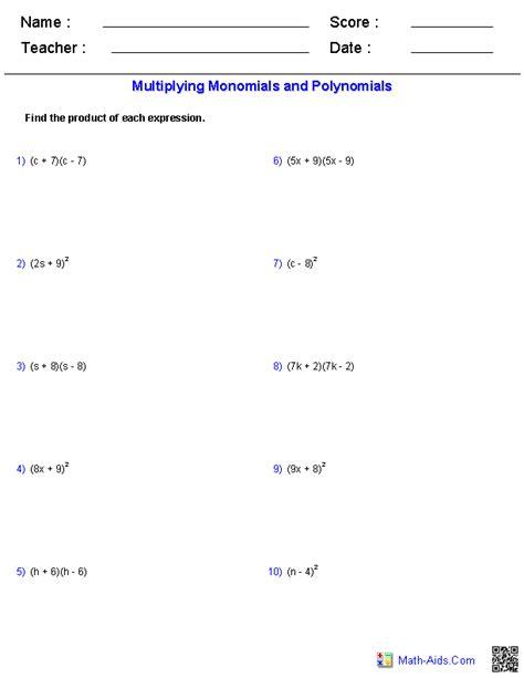 algebra  worksheets monomials  polynomials worksheets