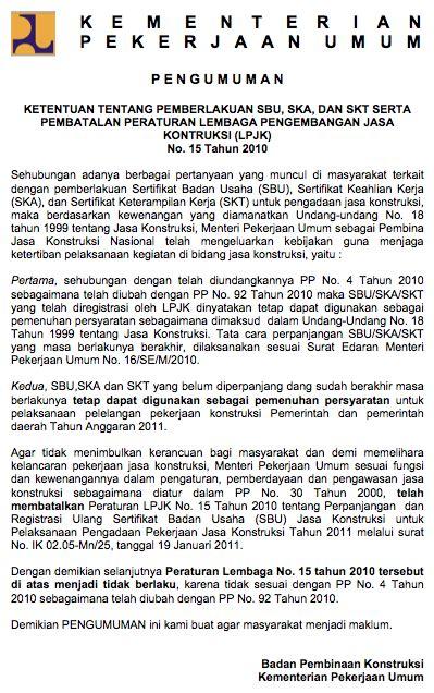 pembatalan peraturan lpjk no 15 tahun 2010 llkpbj aceh