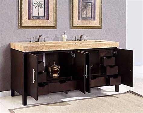 silkroad 72 inch travertine top bathroom vanity