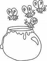 Honey Coloring Jar Bees Pot Flying Drawing Pages Template Hunny Printable Sky Sketch Getdrawings Getcolorings sketch template