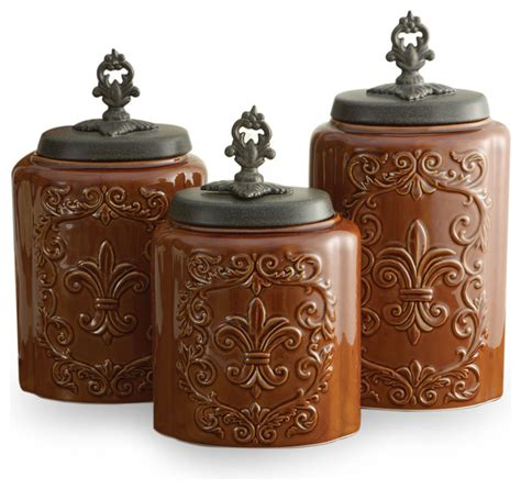 contemporary kitchen canister sets antique canisters set of 3 brown contemporary
