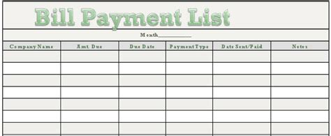list of bills to pay template rhiana reports free downloadable bill payment tracker