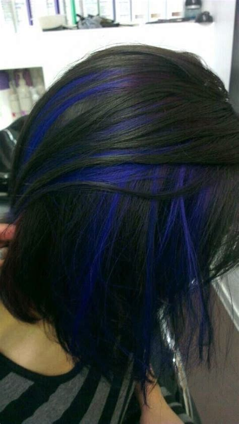 Dark Black Hair With Blue Highlights In 2019 Hair Color