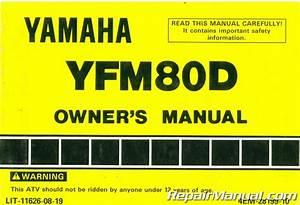 Used 1992 Yamaha Yfm80d Badger Atv Owners Manual