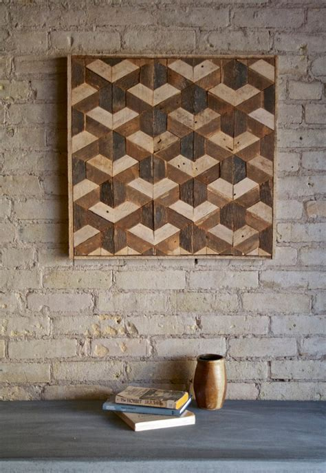wood plank decor reclaimed wood wall art decor lath pattern geometric