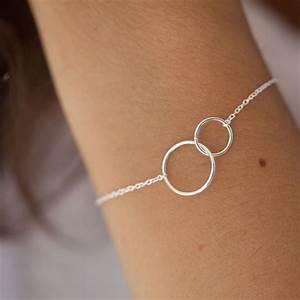 bracelet 2 ronds en argent massif 925 bracelet par With bijoux femme mariage