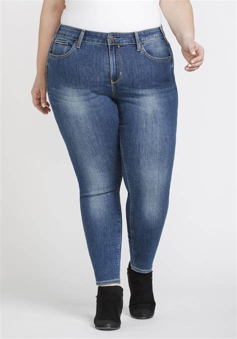 Womens Plus Size Mid Rise Skinny Jeans Warehouse One