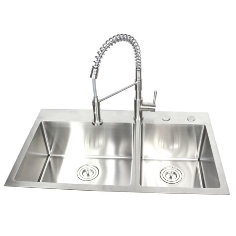 kitchen sink with cabinet 36 inch top mount drop in stainless steel 60 40 6040