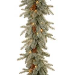 9 x 12 quot quot feel real quot frosted artic spruce pre lit garland clear
