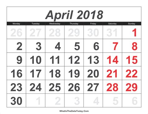 calendar april large numbers whatisthedatetodaycom