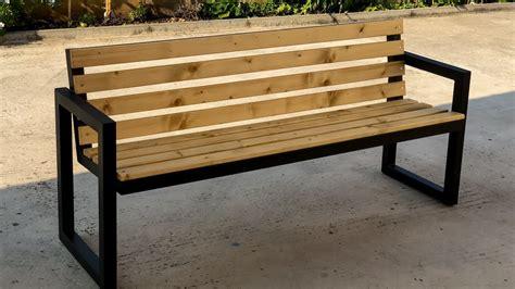 modern outdoor bench steel wood youtube