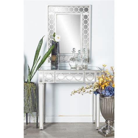 mirror console table litton white wall mirror and console table set 58753