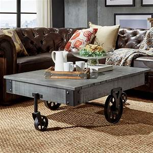 Homesullivan grove place weathered grey mobile coffee for Movable coffee table