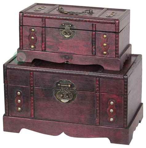 antique wooden treasure chest set of 2 traditional