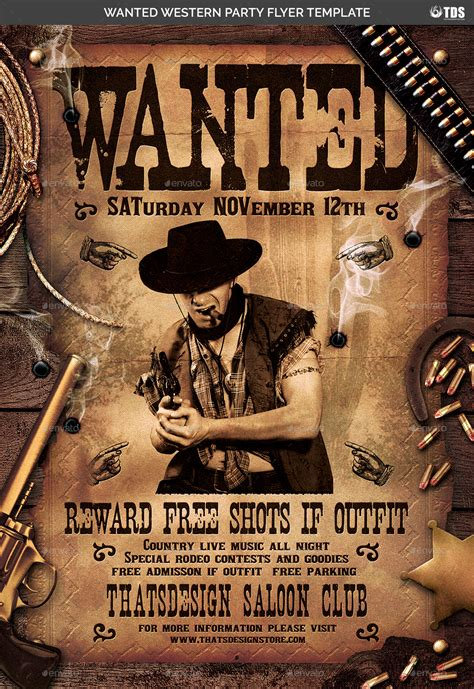 wanted western party flyer template  lou graphicriver