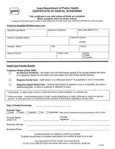 Dental Health Screening Form
