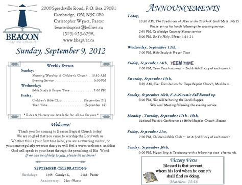 20120909, Weekly Bulletin  Beacon Baptist Church