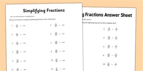 year 6 simplifying fractions activity sheet year 6