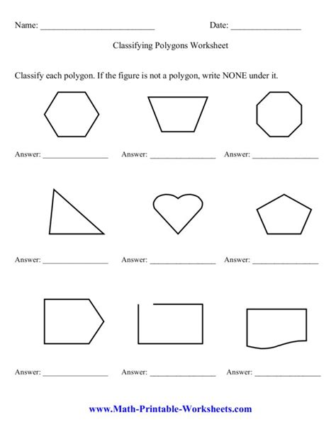 3rd Grade Math Polygons Worksheets  The Property Exterior Angles And Geometry On Pinteresttypes