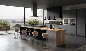 Cuisine moderne et design gris anthracite et bois for Deco cuisine avec chaise contemporaine design