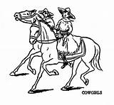 Horse Coloring Cowgirl Riding sketch template