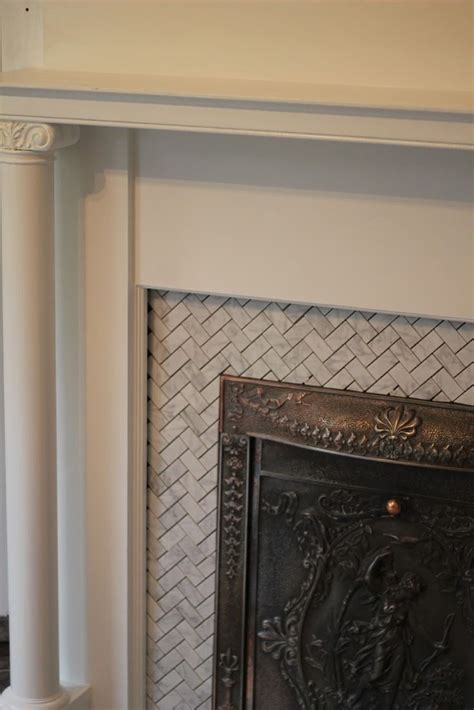 herringbone tile for fireplace hsh fireplace