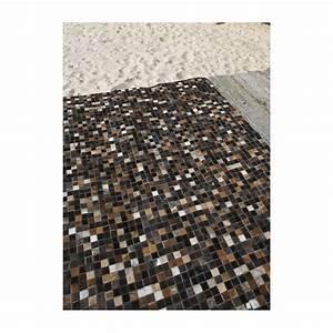 mosaique multi tapis en peaux cuir noir marron blanc With tapis peau de vache avec produit detachant tissu canape