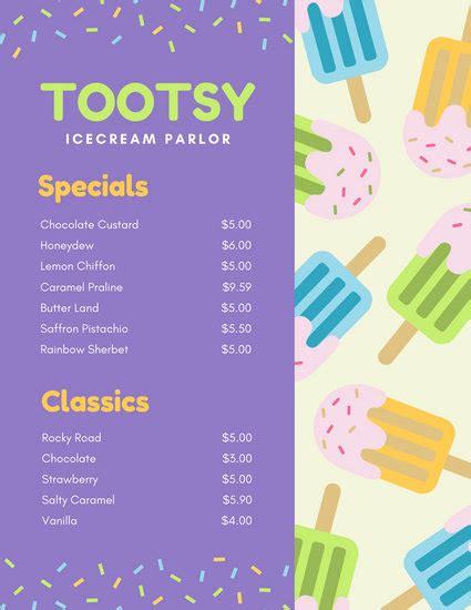 customize  dessert menu templates  canva