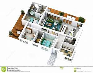 planta de assoalho 3d foto de stock imagem 45834716 With plan maison avec appartement