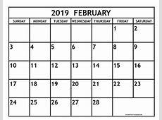Free 2019 Monthly Calendar Printable