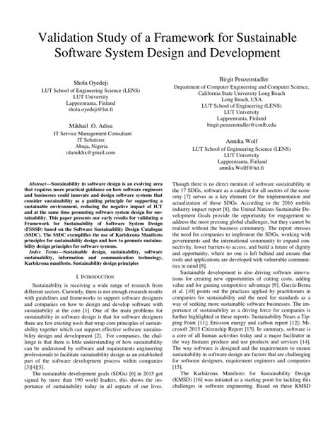 (PDF) Validation Study of a Framework for Sustainable