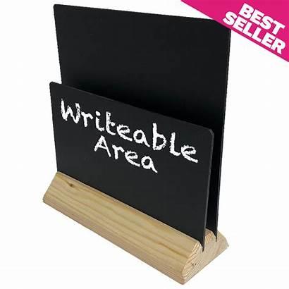 Menu Holders Chalkboard Wooden Stand Plain Channel