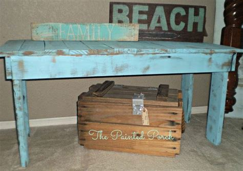 rustic teal blue pallet bench or coffee table distressed