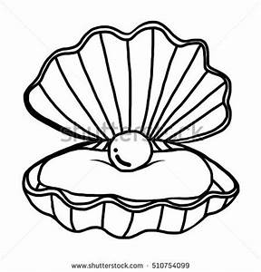 Pearl Shell Cartoon Vector Illustration Black Stock Vector ...