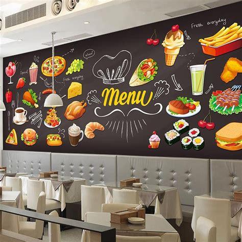 custom photo wallpaper  hamburger restaurant coffee shop
