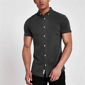 Chemise Jean Noir Homme : chemise en jean noire manches courtes d lav e noir homme river island chemises mezze bar nyc ~ Melissatoandfro.com Idées de Décoration