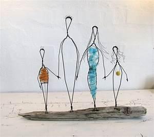 Wire Sculpture  Family Love  Folk Art Series  Mixed Media