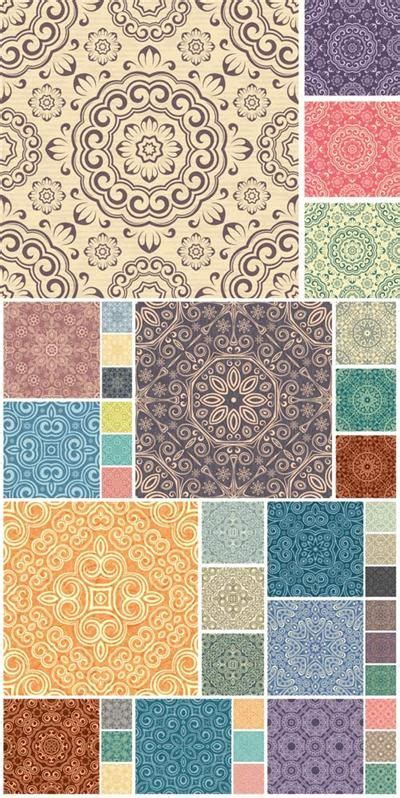Download Free Set of seamless vector floral texture