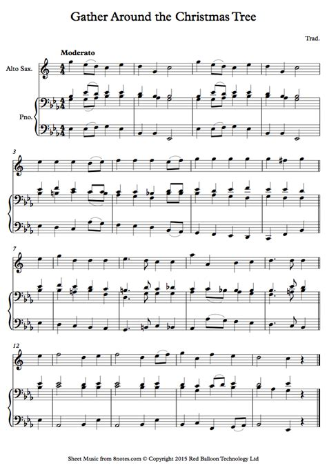 gather around the christmas tree sheet music for saxophone