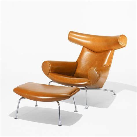 hans wegner ox chair model 46 and ottoman model 49