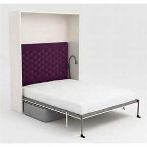 Lit Escamotable Armoire : armoire lit escamotable stone 160x200 blanc canap achat ~ Premium-room.com Idées de Décoration