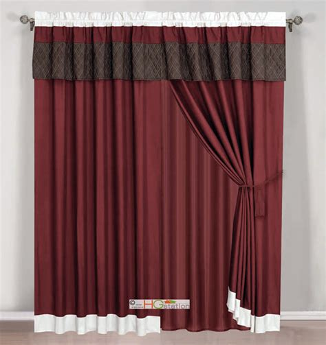 4pc quilted striped curtain set burgundy brown