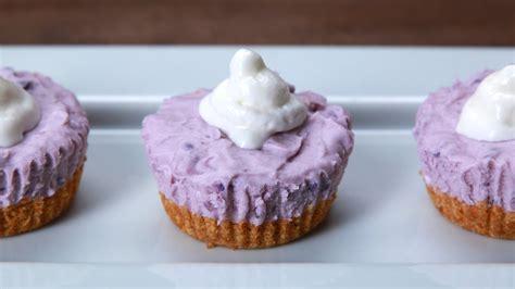 how to make mini cheesecakes how to make these mini no bake ube cheesecakes